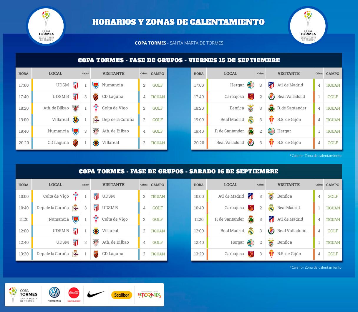 Horarios, cruces y calentamientos fase de grupos - Copa Tormes 2017