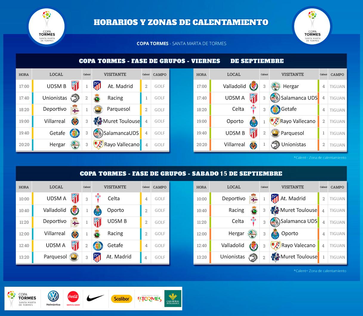 Horarios, cruces y enfrentamientos fase de grupos - Copa Tormes 2018
